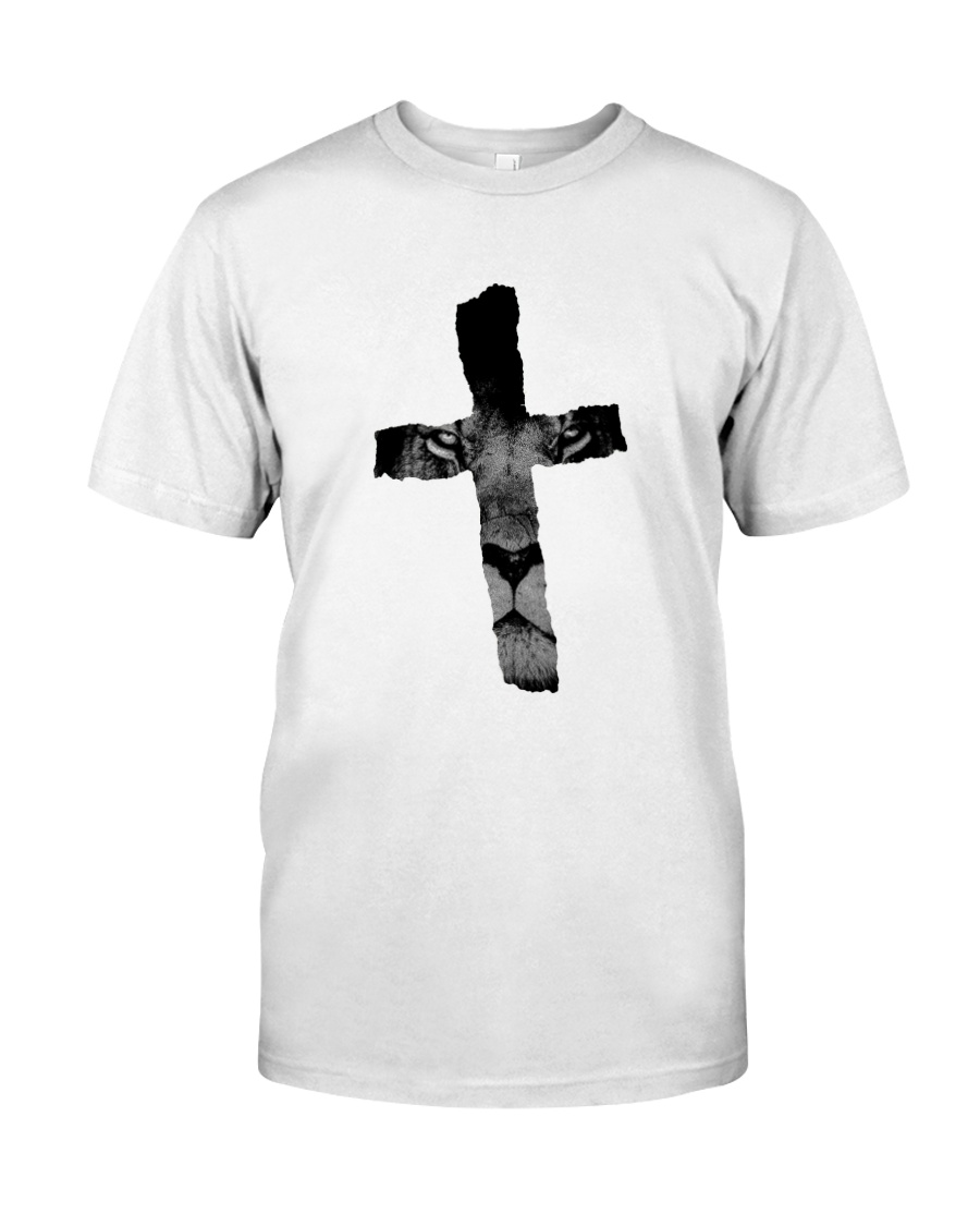 18b4b9d1 Cross with Lion Christian Religious Print Classic T-Shirt