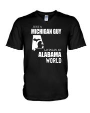 JUST A MICHIGAN GUY LIVING IN ALABAMA WORLD V-Neck T-Shirt thumbnail