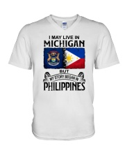 LIVE IN MICHIGAN BEGAN IN PHILIPPINES V-Neck T-Shirt thumbnail