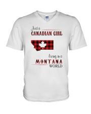 CANADIAN GIRL LIVING IN MONTANA WORLD V-Neck T-Shirt thumbnail