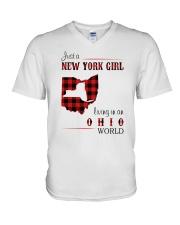NEW YORK GIRL LIVING IN OHIO WORLD  V-Neck T-Shirt thumbnail