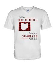 OHIO GIRL LIVING IN COLORADO WORLD V-Neck T-Shirt thumbnail
