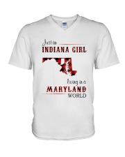INDIANA GIRL LIVING IN MARYLAND WORLD V-Neck T-Shirt thumbnail