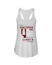 SASKATCHEWAN GIRL LIVING IN ALBERTA WORLD Ladies Flowy Tank thumbnail