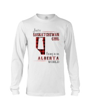 SASKATCHEWAN GIRL LIVING IN ALBERTA WORLD Long Sleeve Tee thumbnail