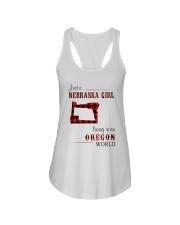 NEBRASKA GIRL LIVING IN ORGEON WORLD Ladies Flowy Tank thumbnail