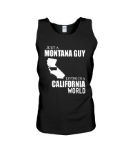JUST A MONTANA GUY LIVING IN CALIFORNIA WORLD Unisex Tank thumbnail