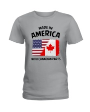 AMERICA WITH CANADIAN PARTS Ladies T-Shirt thumbnail