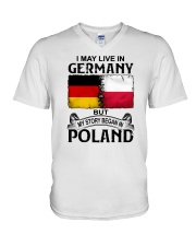 LIVE IN GERMANY BEGAN IN POLAND V-Neck T-Shirt thumbnail