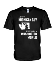 JUST A MICHIGAN GUY LIVING IN WASHINGTON WORLD V-Neck T-Shirt tile