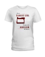 KANSAS GIRL LIVING IN OREGON WORLD Ladies T-Shirt thumbnail