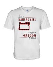 KANSAS GIRL LIVING IN OREGON WORLD V-Neck T-Shirt thumbnail