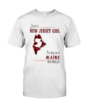 JERSEY GIRL LIVING IN MAINE WORLD Classic T-Shirt front