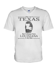 TEXAS BUT LOUISIANA IN MY DNA V-Neck T-Shirt thumbnail