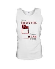 OREGON GIRL LIVING IN UTAH WORLD Unisex Tank thumbnail
