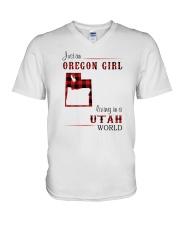 OREGON GIRL LIVING IN UTAH WORLD V-Neck T-Shirt thumbnail