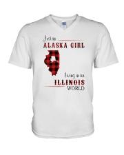 ALASKA GIRL LIVING IN ILLINOIS WORLD V-Neck T-Shirt thumbnail