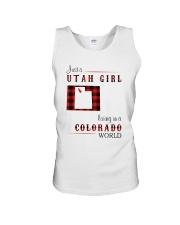 UTAH GIRL LIVING IN COLORADO WORLD Unisex Tank thumbnail
