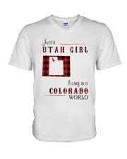 UTAH GIRL LIVING IN COLORADO WORLD V-Neck T-Shirt thumbnail