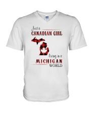 CANADIAN GIRL LIVING IN MICHIGAN WORLD V-Neck T-Shirt thumbnail