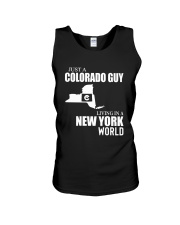 JUST A COLORADO GUY LIVING IN NEW YORK WORLD Unisex Tank thumbnail