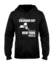 JUST A COLORADO GUY LIVING IN NEW YORK WORLD Hooded Sweatshirt thumbnail
