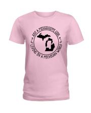 MISSISSIPPI GIRL LIVING IN MICHIGAN WORLD Ladies T-Shirt thumbnail
