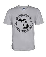 MISSISSIPPI GIRL LIVING IN MICHIGAN WORLD V-Neck T-Shirt thumbnail