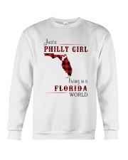 PHILLY GIRL LIVING IN FLORIDA WORLD Crewneck Sweatshirt thumbnail