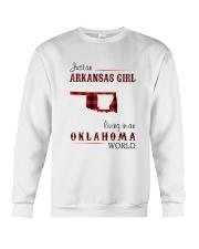 ARKANSAS GIRL LIVING IN OKLAHOMA  WORLD Crewneck Sweatshirt thumbnail