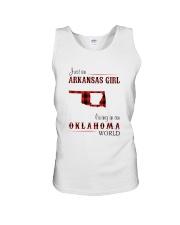ARKANSAS GIRL LIVING IN OKLAHOMA  WORLD Unisex Tank thumbnail