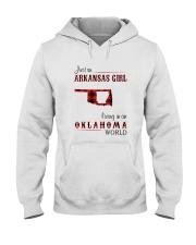 ARKANSAS GIRL LIVING IN OKLAHOMA  WORLD Hooded Sweatshirt thumbnail