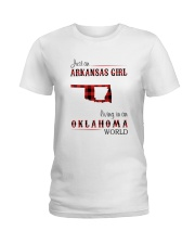 ARKANSAS GIRL LIVING IN OKLAHOMA  WORLD Ladies T-Shirt thumbnail