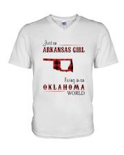 ARKANSAS GIRL LIVING IN OKLAHOMA  WORLD V-Neck T-Shirt thumbnail
