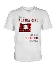 ALASKA GIRL LIVING IN OREGON WORLD V-Neck T-Shirt thumbnail