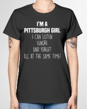 PITTSBURGH GIRL I CAN LISTEN AND FORGET Ladies T-Shirt garment-tshirt-ladies-front-01