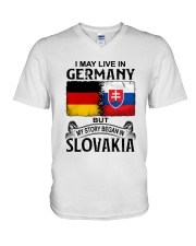LIVE IN GERMANY BEGAN IN SLOVAKIA V-Neck T-Shirt thumbnail