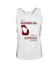 WISCONSIN GIRL LIVING IN GEORGIA WORLD Unisex Tank thumbnail