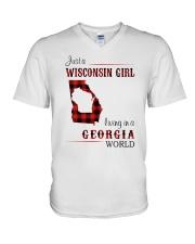 WISCONSIN GIRL LIVING IN GEORGIA WORLD V-Neck T-Shirt thumbnail