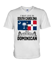 LIVE IN SC BEGAN IN DOMINICAN ROOT WOMEN V-Neck T-Shirt thumbnail