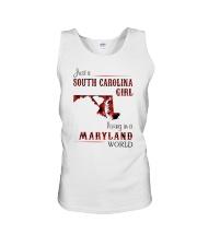 SOUTH CAROLINA GIRL LIVING IN MARYLAND WORLD Unisex Tank thumbnail