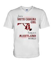 SOUTH CAROLINA GIRL LIVING IN MARYLAND WORLD V-Neck T-Shirt thumbnail