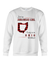 ARKANSAS GIRL LIVING IN OHIO WORLD Crewneck Sweatshirt thumbnail