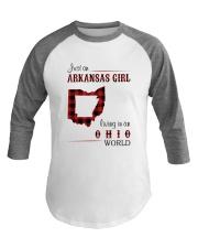 ARKANSAS GIRL LIVING IN OHIO WORLD Baseball Tee thumbnail
