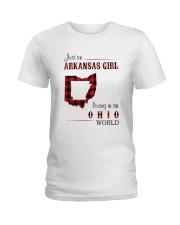 ARKANSAS GIRL LIVING IN OHIO WORLD Ladies T-Shirt thumbnail