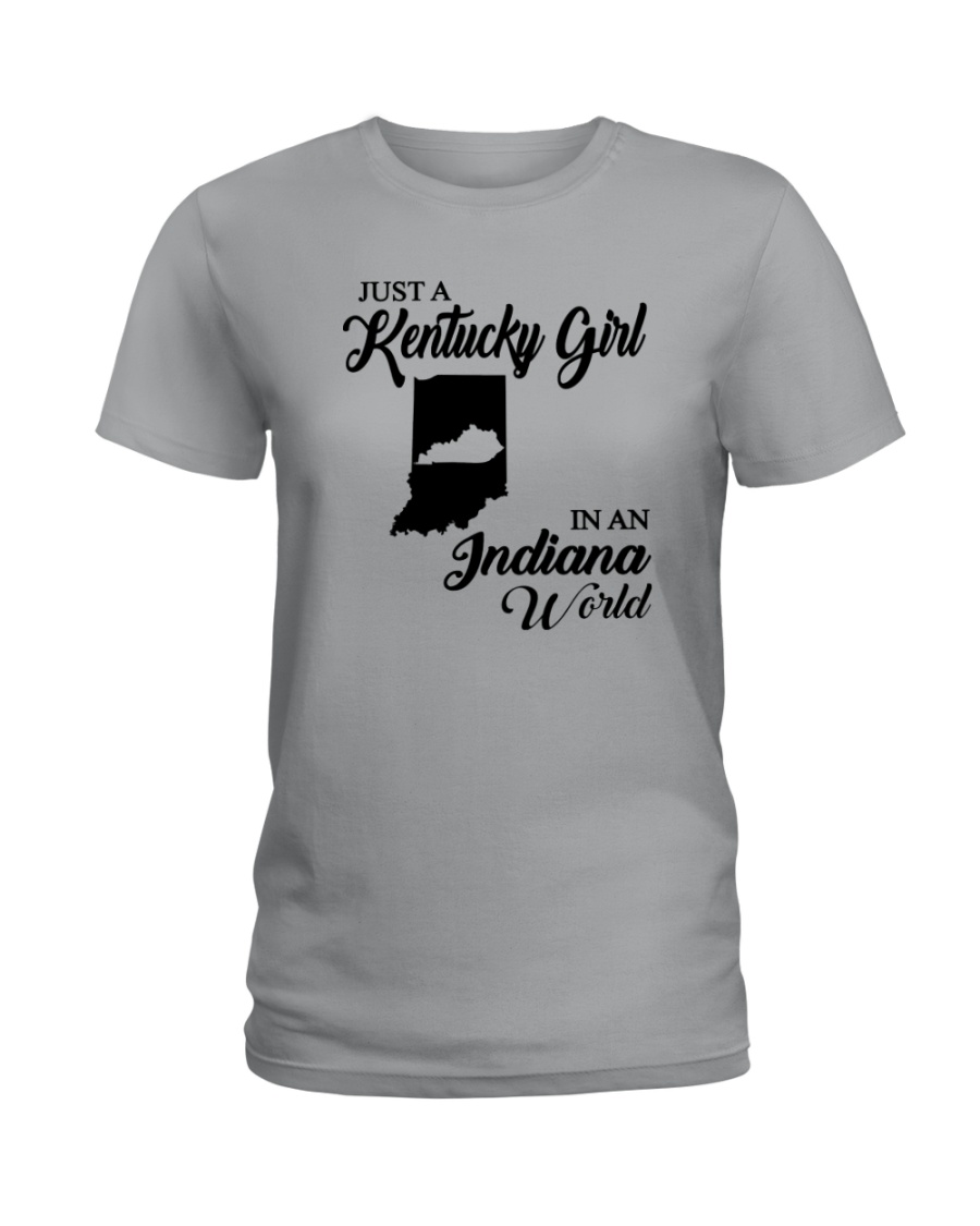 JUST A KENTUCKY GIRL IN AN INDIANA WORLD Ladies T-Shirt