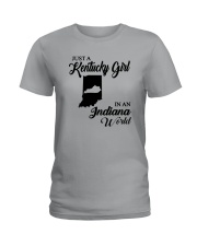 JUST A KENTUCKY GIRL IN AN INDIANA WORLD Ladies T-Shirt front