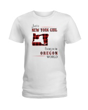 NEW YORK GIRL LIVING IN OREGON WORLD Ladies T-Shirt thumbnail
