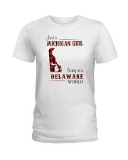 MICHIGAN GIRL LIVING IN DELAWARE WORLD Ladies T-Shirt thumbnail