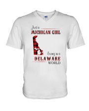 MICHIGAN GIRL LIVING IN DELAWARE WORLD V-Neck T-Shirt thumbnail